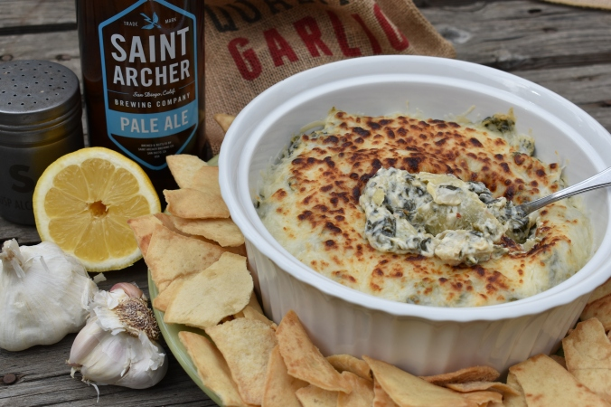 Boozy recipes, cooking with beer, beer recipes, beer, craft beer, pale ale, saint archer beer, saint archer pale ale, saint archer, pale ale spinach artichoke dip, spinach artichoke dip, spinach artichoke dip recipe, homemade spinach artichoke dip