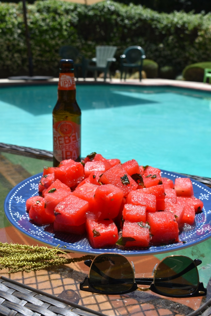 Watermelon, frozen watermelon, booze watermelon, alcoholic watermelon, beer watermelon, Samuel adams, Samuel adams rebel grapefruit ipa, the beeroness, cooking with beer, beer recipes, summer desserts, desserts, refreshing desserts