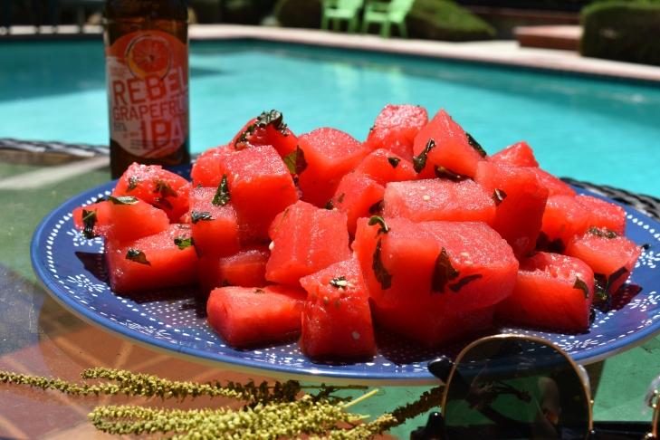 Watermelon, frozen watermelon, booze watermelon, alcoholic watermelon, beer watermelon, Samuel adams, Samuel adams rebel grapefruit ipa, the beeroness, cooking with beer, beer recipes, summer desserts, desserts, refreshing desserts
