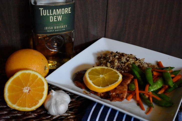 Cooking with whiskey, orange whiskey salmon, tullamore dew, irish whiskey, irish whiskey recipes, salmon recipes, mom foodie, Seafood
