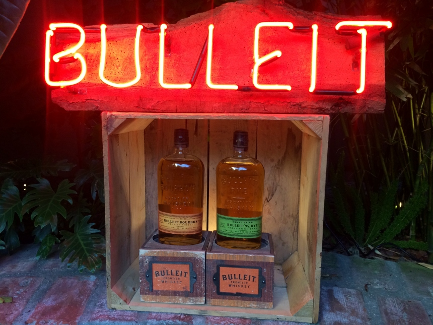 Bulleit whiskey, bulleit, rye whiskey, bourbon, bulleit bourbon, whiskey cocktails, whiskey, whisky, cocktails, cocktail party, millwick, los angeles, arts district, la, mona, museum of neon art, neon, neon signs