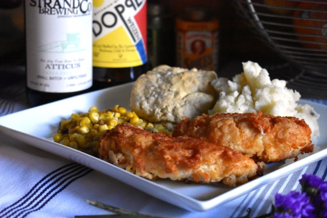 The beeroness, homemade chicken strips, homemade biscuits, beer recipes, beer, strand brewing, strand brewing atticus, lagunitas, lagunitas doppel weizen, homemade fried chicken, how to make chicken strips, chicken strip recipes, fried chicken recipes, biscuit recipes