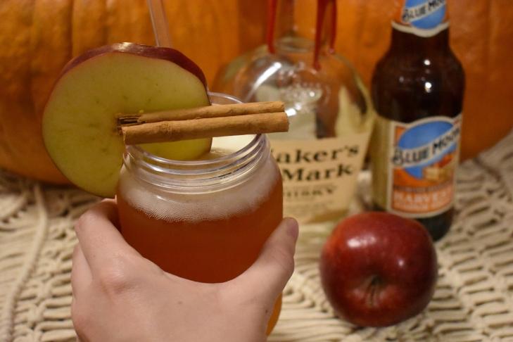 Maker's mark, bourbon, whiskey, bourbon cocktails, whiskey cocktails, fall cocktails, Halloween cocktails, thanksgiving cocktails, apple cocktails, cocktail recipes, beer, blue moon, blue moon harvest pumpkin wheat, pumpkin beer, beer cocktails, pumpkin beer cocktails, pumpkin cocktails, cocktails to serve with thanksgiving dinner