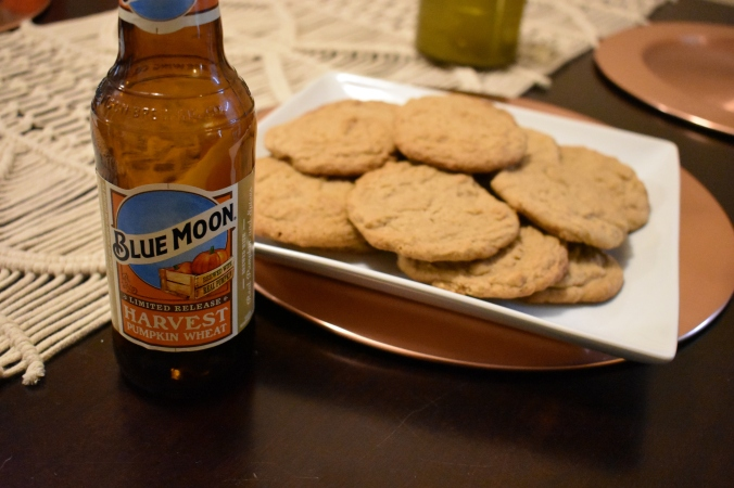 Blue moon, beer, blue moons beers, pumpkin beer, blue moon harvest pumpkin wheat, soft batch cookie recipes, soft batch cookie recipe, brown sugar cookies, brown sugar cookie recipes, beer cookies, beer cookie recipes, beer recipes, recipes that use beer, dessert recipes made with beer, cookies made with beer, pumpkin cookies, pumpkin cookie recipes